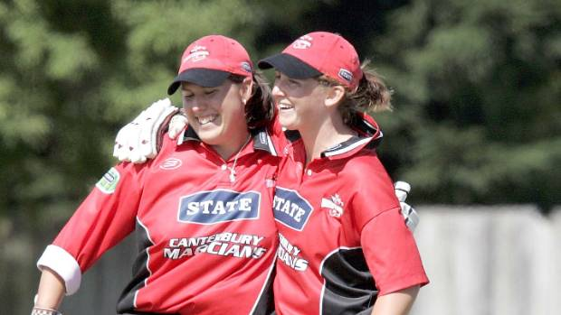 Canterbury heroes Philippa Gerrish and Maria Lankeshwar (R) celebrate hitting Auckland out of the park in the 2005 final.