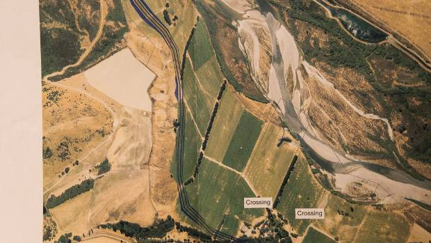 A map of dairy farmer Kevin Earl's property depicts a preliminary draft of a possible course of the Hurunui Water Project.