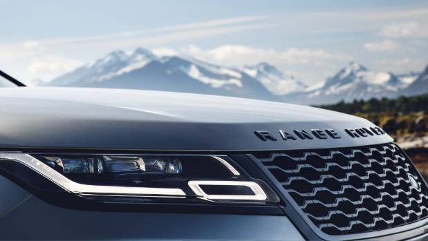 "Slivers of LED lights are key styling feature of Velar. Top versions get ""matrix"" technology."