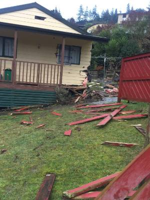 A house that was damaged after a car drove into it on Toi Toi St, Nelson.
