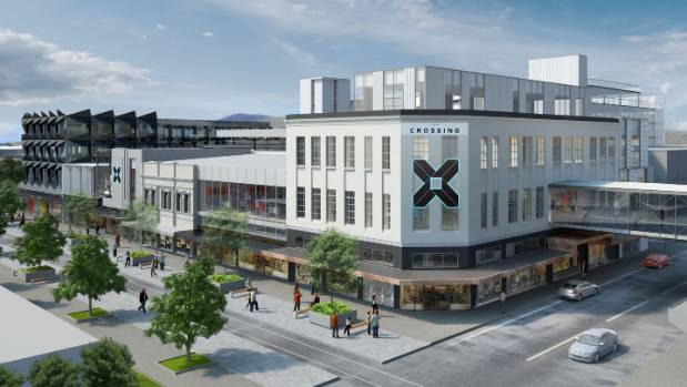 An artist's impression of a completed The Crossing development. H&M and Topshop will bookend the Cashel St frontage east ...