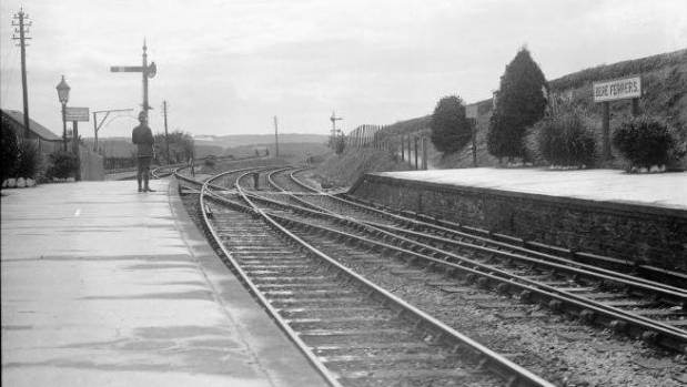 The Bere Ferrers station platform in 1917, where a blood-stained engine came to a stop.