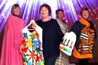 Hokonui Fashion Awards wardrobe team Lyn Roughan, Irene McCall, Anna Balloch and Shirley Copland hold some garments ...