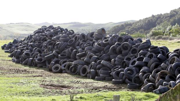 Yet another mountain of Ecoversion tyres, on land near lake Taupo.