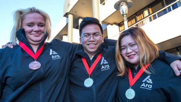 Timaru's Ara medal winners, from left, Torryn Williams, 17, Edsant Obillo, 22, and Denice Marayag, 22, with the medals ...