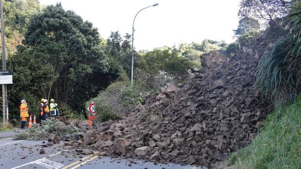 Wellington experienced roughly 400 slips this winter, due in part to high rainfall, including this slip, which blocked ...