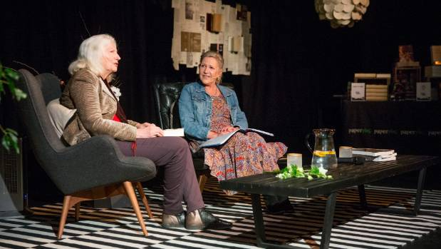 Dame Anne Salmond, left, talks to Tessa Nicholson and the crowd at the Boathouse Theatre.