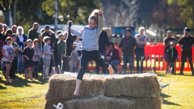 Uruti's Macy Lobb, 11, was a speedster in the possum carrying obstacle course.