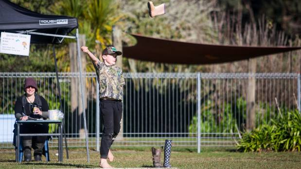 Ryan Harrison, 11, of Uruti entered the gumboot throwing and everything else that was going.