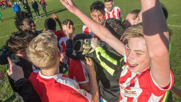 The Western Suburbs celebrate their win over Palmerston North Marist on Sunday to win the Central League title.