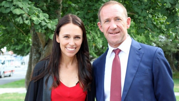 Past and future: Jacinda Ardern with her predecessor Andrew Little.