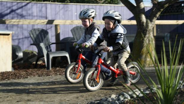 The new bike track at Seymour Kindergarten is tested by friends Seth Toogood, left, and Dion Crafar.