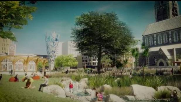 Plans for a new-look Cathedral Square include a stream, lawns and native bush.