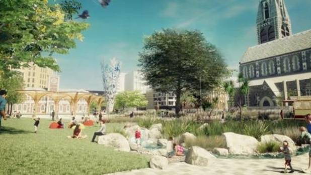 """A draft concept of """"Cathedral Gardens"""" for Christchurch's Cathedral Square."""