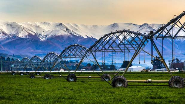 Irrigation on a farm near Kurow, South Canterbury.