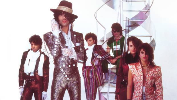 Prince and his backing band, The Revolution, during the 1980s.
