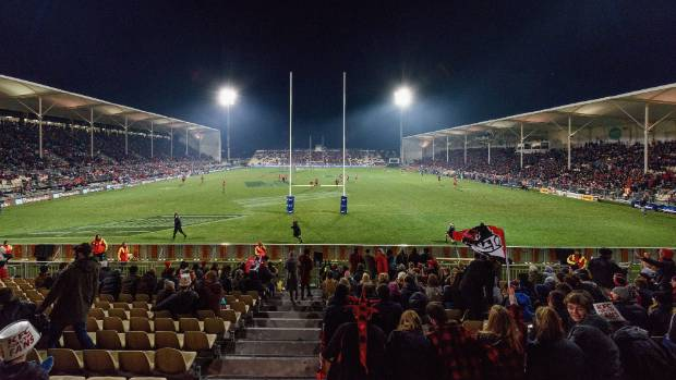 A general view of AMI Stadium during the Super Rugby semifinal match between the Crusaders and the Chiefs with only ...