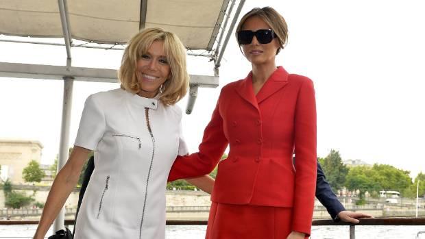 Brigitte Macron with US First Lady Melania Trump.
