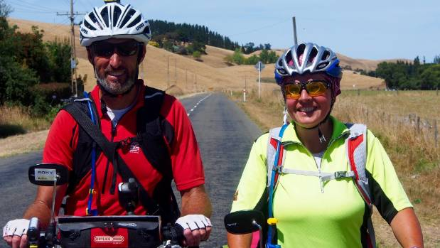 Andrew and Gaby Welsh on their biking adventure in Australia.