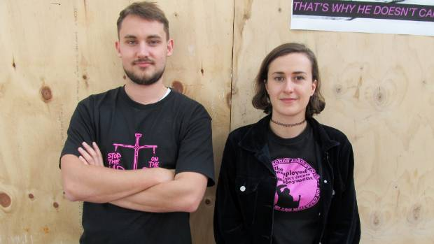 Vanessa Cole from Auckland Action Against Poverty, pictured beside Finn Morrow, sees the benefits system as dehumanising.