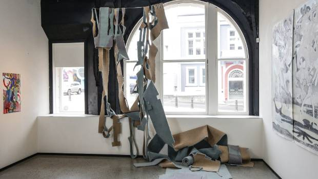 Kirsty Lillico's work State Block includes salvaged carpet draped from the ceilings, and is intended to question the ...