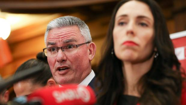 Newly appointed Labour leader Jacinda Ardern and deputy Kelvin Davis speak to media earlier today.