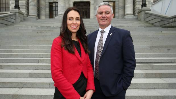 Newly appointed Labour leader Jacinda Ardern and deputy Kelvin Davis pose after a press conference at Parliament. Kelvin ...