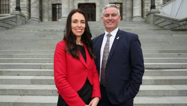 Newly appointed Labour leader Jacinda Ardern and deputy Kelvin Davis.