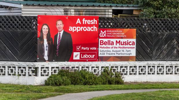 Election hoardings featuring Andrew Little, like this one in Blenheim, could come down after the Labour leader's resignation.