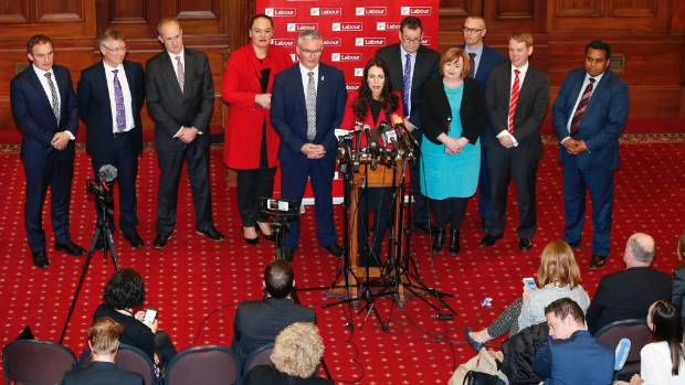 Ardern at her first press conference as Labour leader.