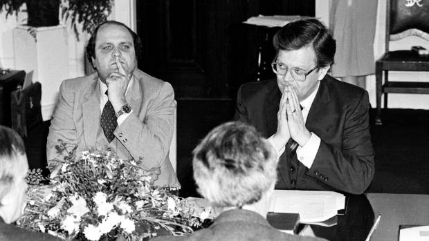"Mike Moore, pictured with David Lange in 1984, was tasked with ""saving the furniture"" for Labour in 1990."