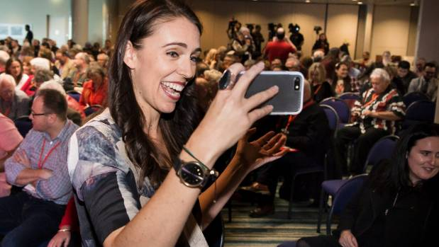 Jacinda Ardern live streaming before her address at the Labour Party congress at Te Papa.