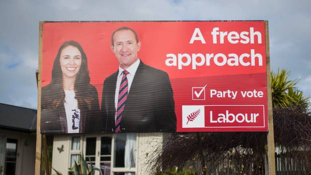 Out with the old: A Labour Party billboard featuring former leader Andrew Little and new leader Jacinda Ardern in South ...