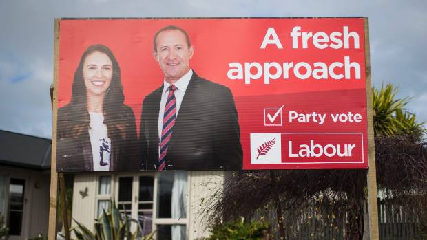 The old billboard, featuring Ardern and Little.