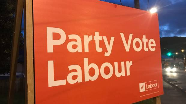 A new Labour Party billboard on John St, Newtown, Wellington, has no image of former leader Andrew Little, or new leader ...