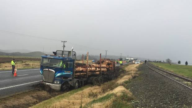 The front driver's side of the logging truck was damaged in the collision with Trevor Hampton's car at Bay View, Napier, ...