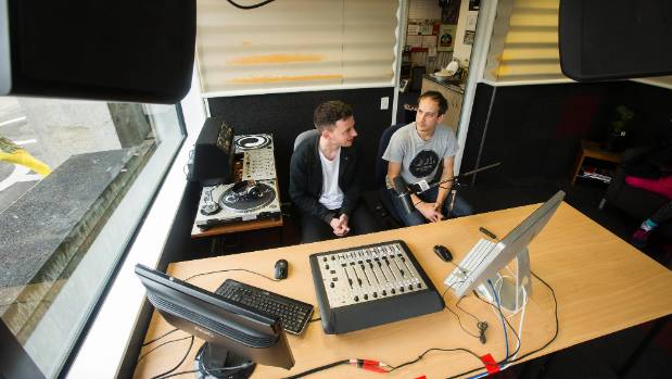 David Stevens, left, in the Radio Control studio on his last day. With him is the incoming manager Michael Tilley.