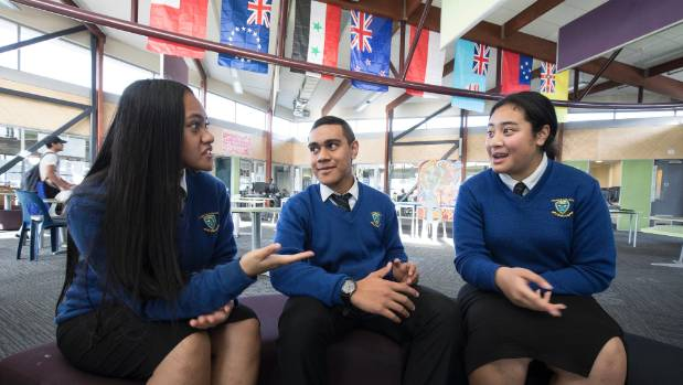 L-R:  Roseta Lopa, 16, Murray Faivalu, 17, and Aaliyah Vitime, 17. The Porirua College students want to get rid of the ...