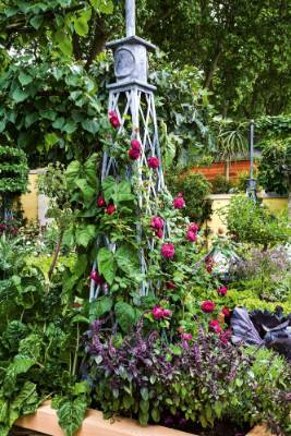 3. Add free-standing supports: Along with walls and fences, use free-standing vertical elements such as obelisks that ...