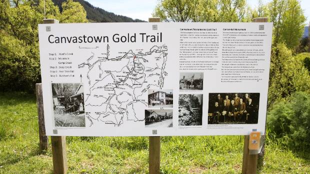 A map for visitors wanting to go on the Canvastown gold trail.