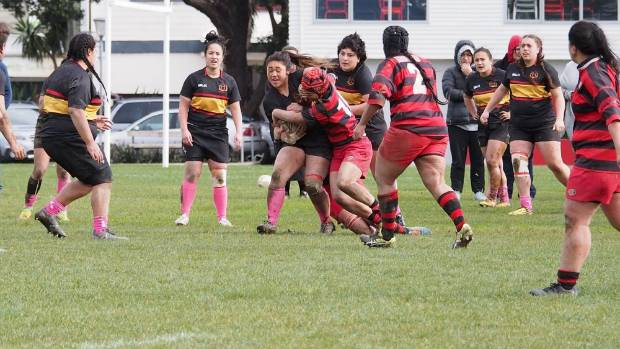Paremata Plimmerton loose froward  Tyra Misky  takes the ball into contact during the team's first semi final win 12-10 ...