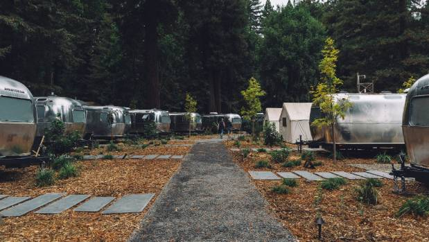 Autocamp is a glamping campsite filled with vintage airstream caravans and luxury tents beneath redwoods in Guerneville.