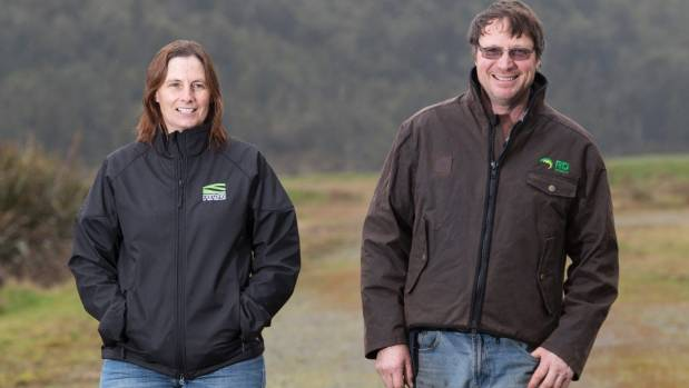 Katie Milne and husband Ian Whitmore on their farm near Lake Brunner on the West Coast.