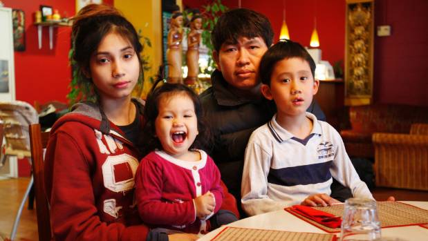 Poppy Thai owners Angie Srithong and Pobsak Srithong with their children, Calista, 18 months, and Perth, 7, wonder if ...