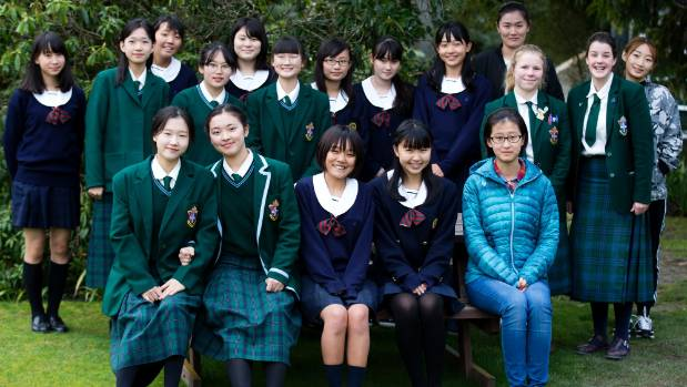 Some of the exchange students attending Craighead Diocesan at the moment, with two of their buddies, middle row second ...