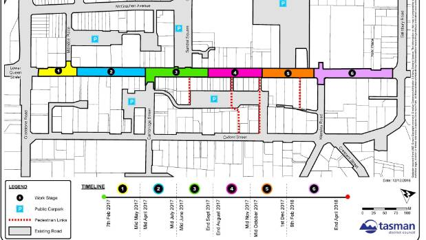 A map showing the original planned stages and timeline of the Queen St upgrade.