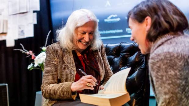 Dame Anne Salmond signs a book after speaking at the Marlborough Book Festival.