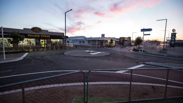 A new roundabout on the corner of Queen St and McIndoe Place in stage one of the upgrade, which is due to open on Saturday.