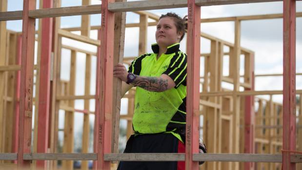Apprentice Tayla Haere of Palmerston North helps fill the widening gap of skilled construction workers.