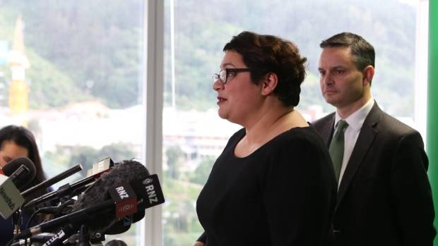 Green co-leaders Metiria Turei and James Shaw front the media on Friday afternoon. Turei said she did not intend to resign.